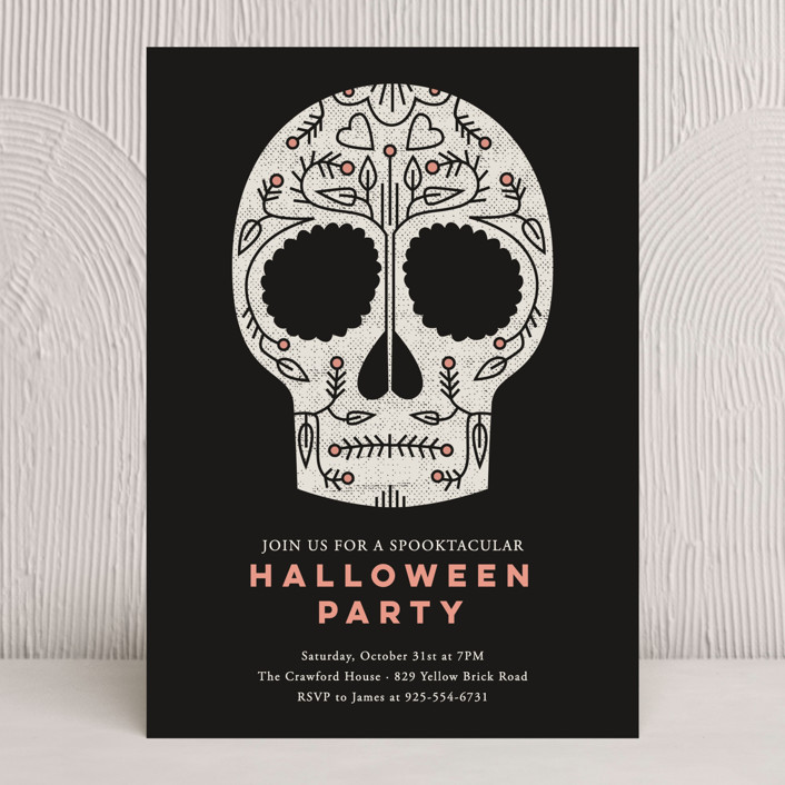"""""""Sugar Skull"""" - Holiday Party Invitations in Midnight by Stacey Hill."""