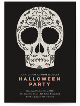 This is a black holiday party invitation by Stacey Hill called Sugar Skull printing on signature.