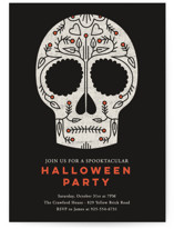 This is a orange holiday party invitation by Stacey Hill called Sugar Skull printing on signature.