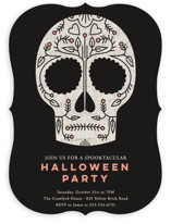 This is a black holiday party invitation by Stacey Hill called Sugar Skull printing on signature in standard.