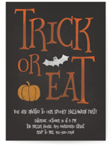 This is a orange holiday party invitation by LemonBirch Design called Trick or Eat printing on signature.
