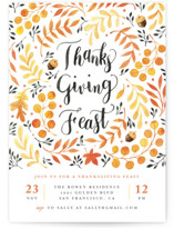 This is a white holiday party invitation by Four Wet Feet Studio called Autumn Leaves printing on signature.