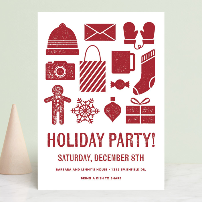 """Winter Staples"" - Holiday Party Invitations in Cranberry by Kay Wolfersperger."