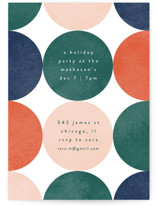 This is a green holiday party invitation by Kelly Schmidt called Circles printing on signature.