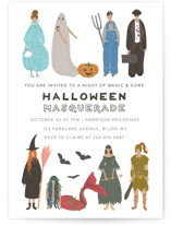 This is a white holiday party invitation by Grae called Halloween Masquerade printing on signature.