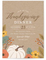 This is a brown holiday party invitation by Karidy Walker called Bountiful Harvest printing on signature.