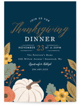 This is a blue holiday party invitation by Karidy Walker called Bountiful Harvest printing on signature.