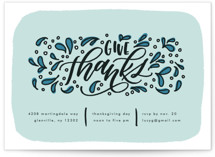 This is a blue holiday party invitation by Erin L. Wilson called Thanksgiving Sprigs printing on signature.