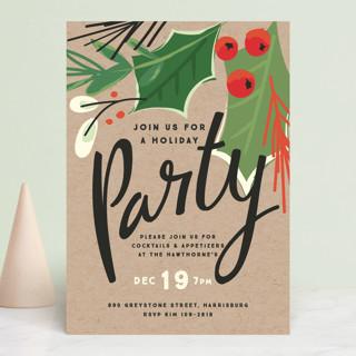 big greenery Holiday Party Invitations