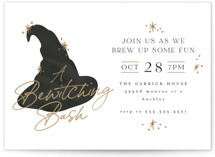 This is a black holiday party invitation by Angela Garrick called wizard halloween with standard printing on signature in standard.