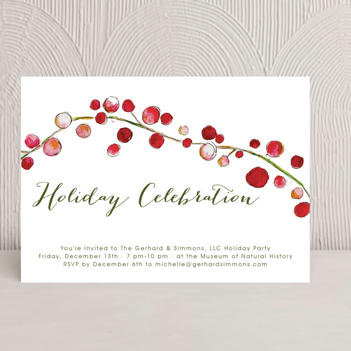 """Holly and Berries"" - Classical Holiday Party Invitations in Olive by Erin Deegan."