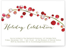This is a green holiday party invitation by Erin Deegan called Holly and Berries printing on signature.