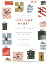 This is a red holiday party invitation by Pixel and Hank called Gifts! printing on signature.