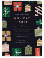 This is a blue holiday party invitation by Pixel and Hank called Gifts! printing on signature.