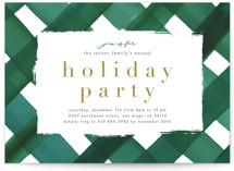 This is a green holiday party invitation by Erica Krystek called Holiday Plaid printing on signature.