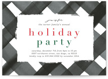 This is a black holiday party invitation by Erica Krystek called Holiday Plaid printing on signature.