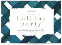 This is a blue holiday party invitation by Erica Krystek called Holiday Plaid printing on signature.