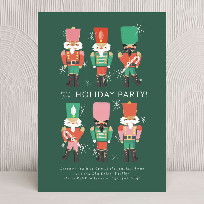 """""""Nutcrackers"""" - Holiday Party Invitations in Evergreen by Itsy Belle Studio."""