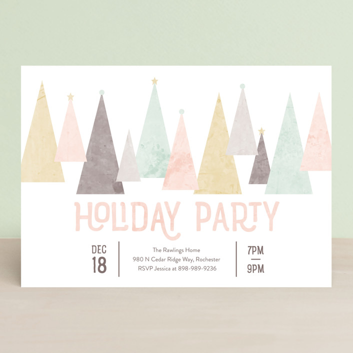 """""""Aluminum Christmas Tree"""" - Holiday Party Invitations in Cotton Candy by Kate Sorensen."""
