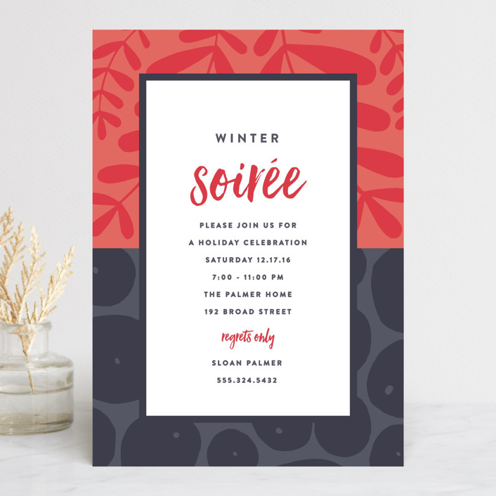 """Mixed Prints"" - Bohemian Holiday Party Invitations in Berry by Olivia Raufman."