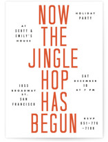 This is a orange holiday party invitation by Yours Madly called Hop To It printing on signature.