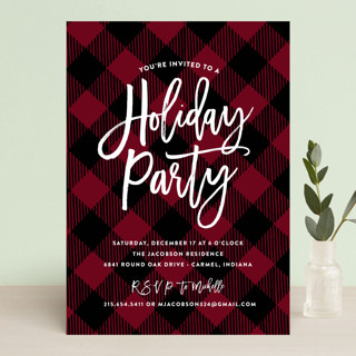 Painterly Plaid Holiday Party Invitations