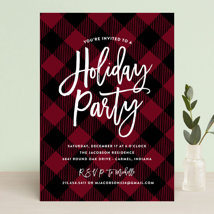 """Painterly Plaid"" - Vintage Holiday Party Invitations in Crimson by Sarah Brown."