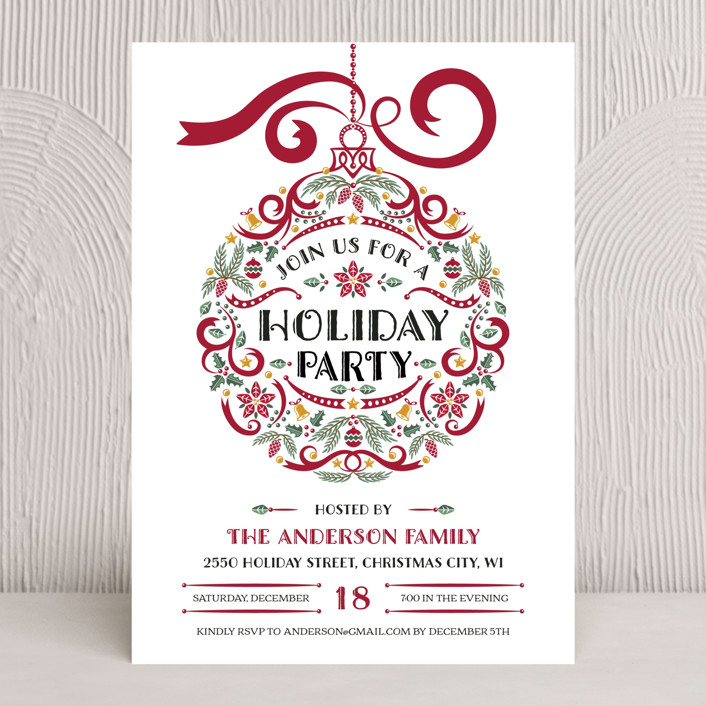 """Holiday Party Ornament"" - Vintage Holiday Party Invitations in Winterberry Red by Paper Sun Studio."