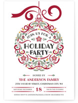 This is a black holiday party invitation by Paper Sun Studio called Holiday Party Ornament printing on signature.