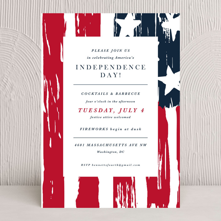 """""""Independence Day"""" - Bohemian, Vintage Holiday Party Invitations in Classic by Christie Kelly."""