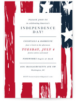 This is a blue holiday party invitation by Christie Kelly called Independence Day printing on signature.