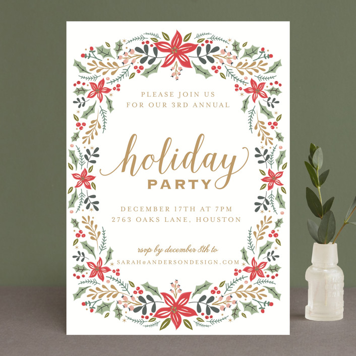 """""""Holiday Floral Sprinkle"""" - Holiday Party Invitations in Golden by Susan Moyal."""