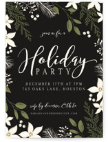 This is a black holiday party invitation by Susan Moyal called Holiday Party Greens printing on signature.