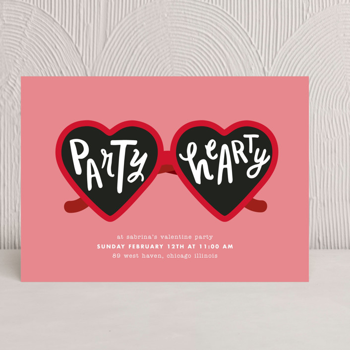 """""""Party Hearty"""" - Modern Holiday Party Invitations in Strawberry Sorbet by Baumbirdy."""