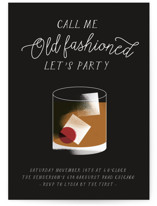 This is a black and white holiday party invitation by Baumbirdy called Old Fashioned printing on signature.
