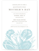 This is a blue holiday party invitation by Christie Kelly called Mother's Day printing on signature.