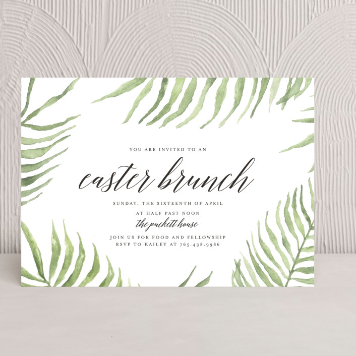 """Easter Palm Branches"" - Holiday Party Invitations in Green Palm Brancehs by Casey Brock."