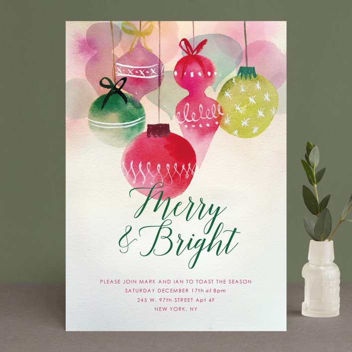 """Merry and Bright Baubles"" - Holiday Party Invitations in Ornament by Haley Mistler."