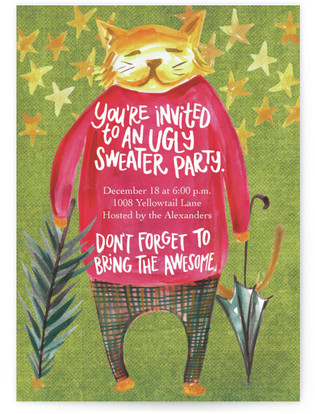 Mr. Cat's Ugly Sweater Holiday Party Invitations