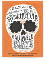 This is a orange holiday party invitation by Jessie Steury called Spooktacular printing on signature.