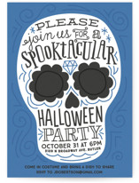 This is a blue holiday party invitation by Jessie Steury called Spooktacular printing on signature.