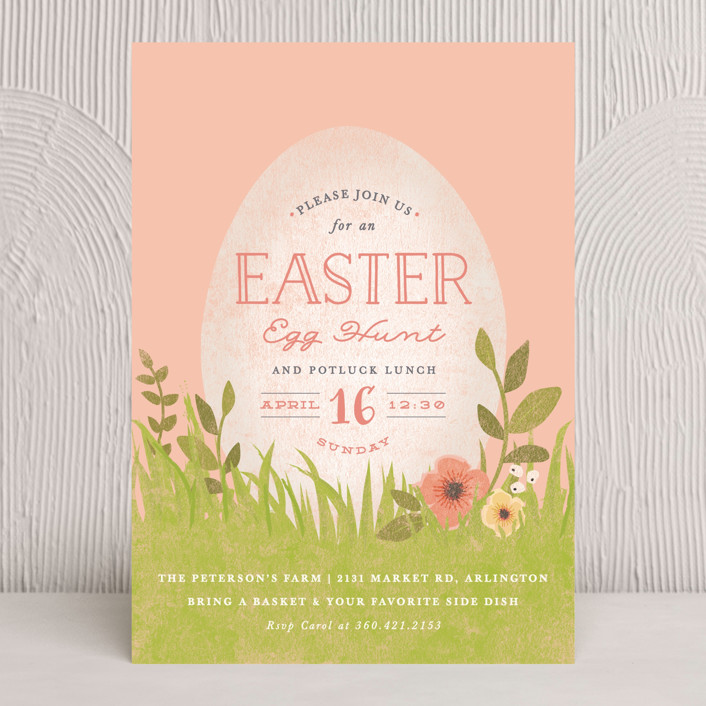 """""""spring egg"""" - Holiday Party Invitations in Blush by Karidy Walker."""