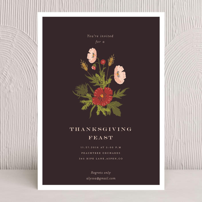 """""""Centerpiece"""" - Rustic/Craft, Floral & Botanical Holiday Party Invitations in Charcoal by Nazia Hyder."""