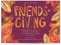 This is a purple holiday party invitation by Lissabeth Anglin called Leafy Friendsgiving printing on signature.