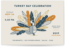 This is a blue holiday party invitation by Dana Beckwith called Classy Turkey printing on signature.