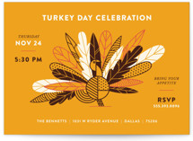 This is a grey holiday party invitation by Dana Beckwith called Classy Turkey printing on signature.