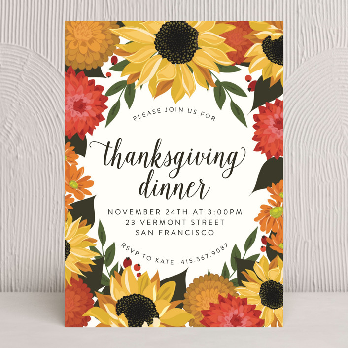 """Dahlias & Sunflowers"" - Floral & Botanical Holiday Party Invitations in Papaya by Susan Moyal."