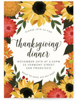 This is a non classic colors holiday party invitation by Susan Moyal called Dahlias & Sunflowers printing on signature in standard.