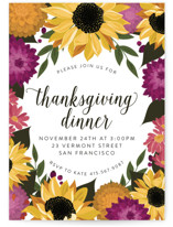 This is a non classic colors holiday party invitation by Susan Moyal called Dahlias & Sunflowers printing on signature.