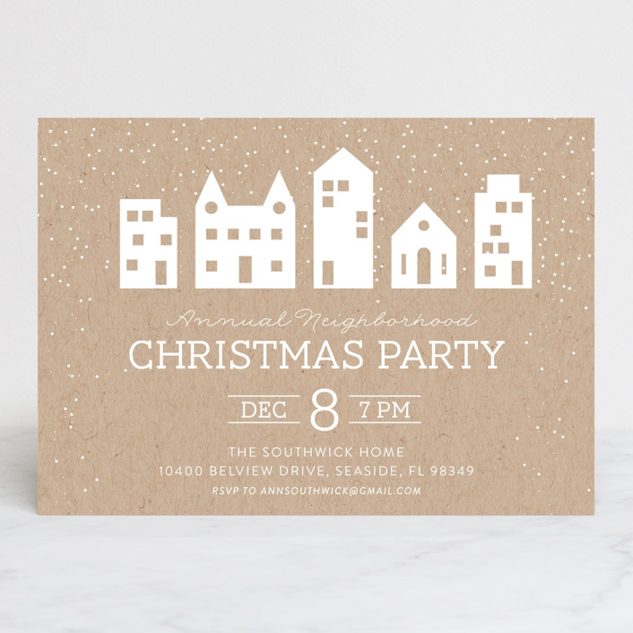 """""""Tealight Village"""" - Holiday Party Invitations in Kraft by Kate Sorensen."""